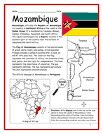 MOZAMBIQUE - Introductory Geography Worksheet and Interactive Notebook Activity