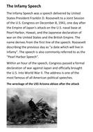The Infamy Speech Pearl Harbor Handout