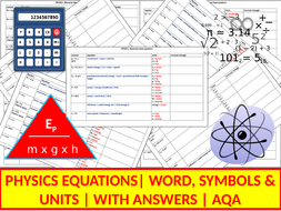 Physics Equations | Worksheets | Activities | Revision | AQA | Combined & Triple