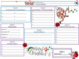 Nursery-Rhymes-Christmas-Quiz-2019---Student-Answer-Sheet.pptx