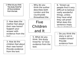 Five children and It chapter 1 guided reading questions Year 6