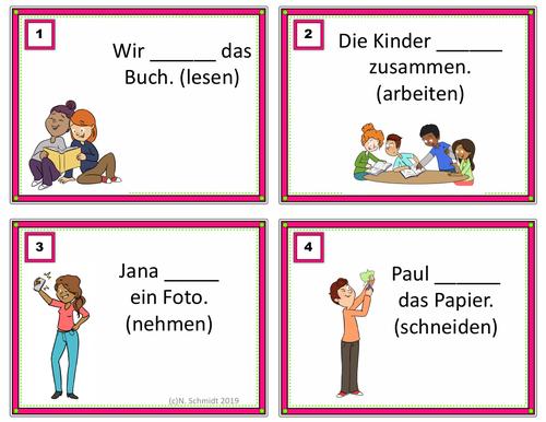 German Verbs Task Cards: Present Tense Irregular and Regular Verbs (24 Verben)