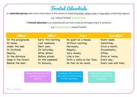 Fronted Adverbials (Poster, worksheet & answers)