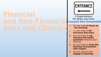 Financial and Non-Financial Aims & Objectives
