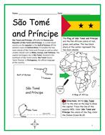 São Tomé and Príncipe - Printable handout with map and flag