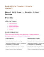 Edexcel IGCSE Chemistry - Physical Chemistry