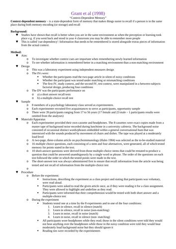 OCR A-Level Psychology: Cognitive Core Studies