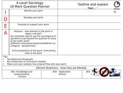 AQA Sociology A-level 10 Mark Planning Sheet