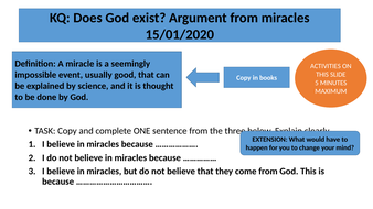 Argument from miracles - AQA GCSE
