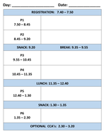 Daily Timetable / Planner