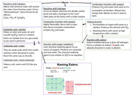 C10 - Organic reactions - Revision Mat