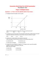 Work Sheet on IGCSE Economics on Elasticity