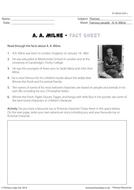 A. A. Milne Fact Sheet - Creative Writing Exercise
