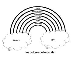 Spanish Color Practice Worksheet / Los colores del arco iris