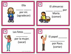 Spanish Passive Voice Task Cards: 24 Unique Verbs (La Voz Pasiva)