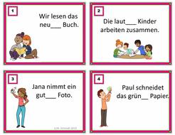 German Adjective Endings Task Cards: 24 Aufgabenkarten für Adjektivendungen