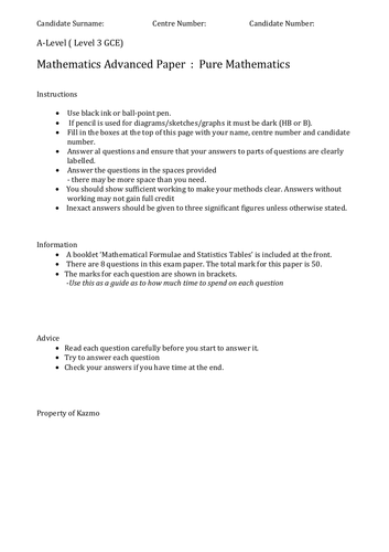 New A-level Maths (Pure) Practice Paper 1C