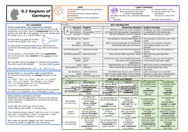 Knowledge Organiser (KO) for German GCSE AQA OUP Textbook 8.2 - Regions of Germany