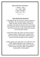 Maths 10 minute practice Year 6 with answers