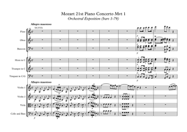 Mozart 21st Piano Score by Section