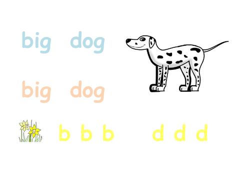 Phonics - big dog writing sheet