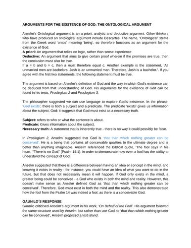 The Ontological Argument Revision Sheet - A Level Religious Studies