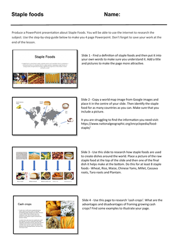 Food cover work / cover lesson - Staple foods - 1hr activity
