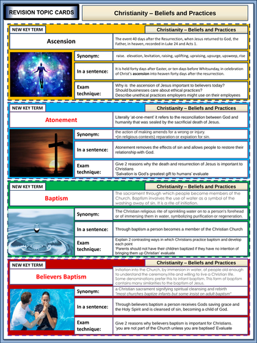 AQA GCSE Religious Studies Christan Beliefs and Practices Revision Flashcards