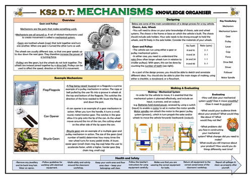 DT: Mechanisms - Gears and Pulleys - KS2 Knowledge Organiser!