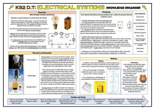 DT: Electrical Systems - More Complex Switches and Circuits - KS2 Knowledge Organiser!