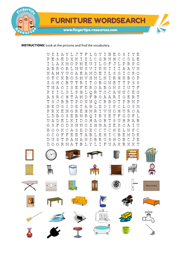 Furniture Vocabulary Word Search