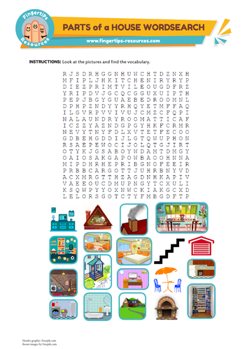 Rooms of a House Vocabulary Word Search