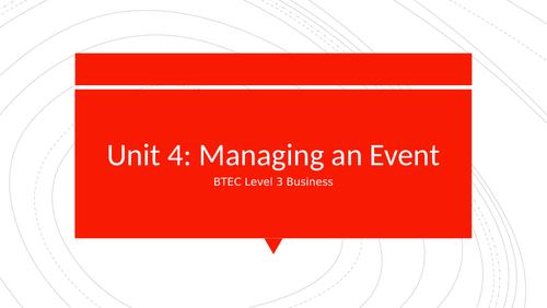 BTEC Level 3 Business Unit 4: Managing an Event - Problem Solving