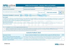 IBDP NPQSL project & feedback completed Feb 2020