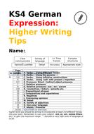 German KS4:  Higher Writing Tips for GCSE