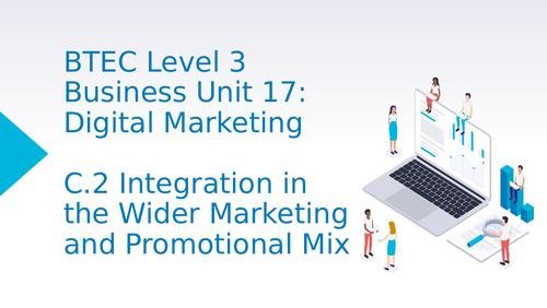 BTEC Level 3 Business Unit 17: Digital Marketing C2 Integration in the Wider Marketing Mix