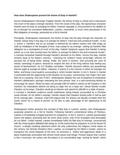 Example A Level English Literature Essays - Hamlet