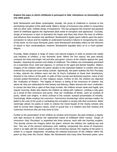 Edexcel English Literature A Level - Poetry Example Essays