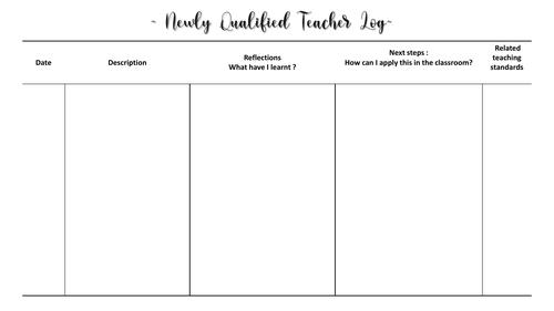 NQT Log, reflection log, Teacher Training, PGCE, SCITT