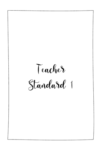 Teacher Standards 1-8 folder cover inserts INCLUDING sub standards FREE Part Two guidance