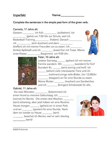German Simple Past Reading + Worksheet (Imperfekt) Fill in the Blanks Reading