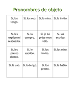 Pronombres de objeto Object Pronouns Bingo and Worksheet