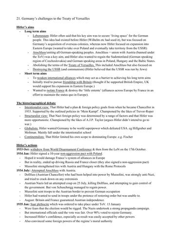 AQA Hist Section 6 1935-1941: International Relations