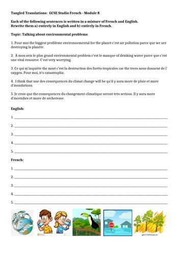 GCSE Studio French Mod 8 Tangled Translations
