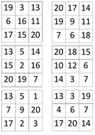 Bingo cards 1-15