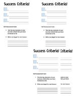 ART: Custom success criteria mini sheet