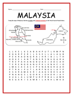 MALAYSIA STATES AND TERRITORIES - Word Search Puzzle