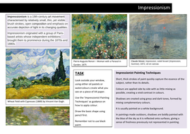 Impressionism Painting Worksheet