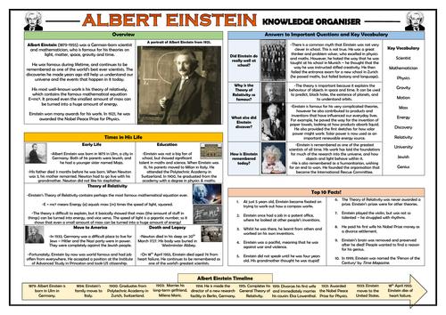 Albert Einstein Knowledge Organiser!