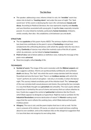 Notes on Blake's poems (Edexcel A-Level Eng Lit)